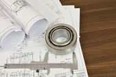 Construction drawings, caliper and bearing — Stock Photo