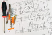 Construction drawings. Desk builder — Stock Photo