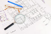 Construction drawing. The desk architect — Stock Photo