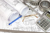 Construction drawings. Desk Engineer — Stock Photo