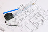 Construction drawing. Desk builder — Stock Photo