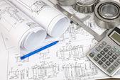 Construction drawings. Desk Engineer — Stockfoto