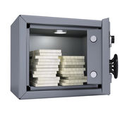 Wads of cash in an open metal safe — Stockfoto