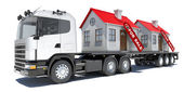 Truck carries two houses — Stock Photo