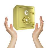 Handen houden goud veilig — Stockfoto