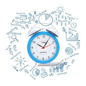Alarm clock with business sketches — 图库照片