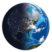 Photorealistic Earth. Day and night — Stock Photo