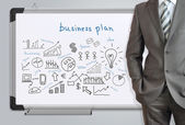 Man in suit and business plan — Stock Photo