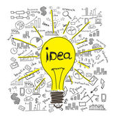 Sketches bulbs and business ideas — Stock Photo