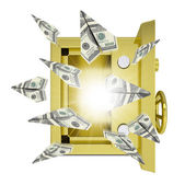 Paper airplanes of dollars from an open safe — Stock Photo