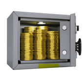 Gold coins in a safe — Stock Photo