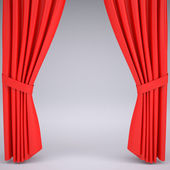 Open the red curtain — Stock Photo
