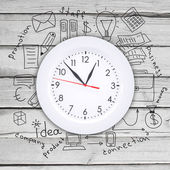 Clock with business sketches — Stockfoto