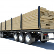 Truck transporting lumber. Rear view — Stock Photo #44295507