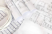 Electrical cable on the construction drawings — Stock Photo