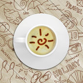 Summer sketches around cup of coffee — Stock Photo