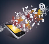Smart phone emits letters, numbers and smoke — Stock Photo