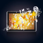 Tablet pc emits letters, numbers and smoke — Zdjęcie stockowe