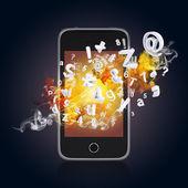 Inteligentny telefon emituje liter, cyfr i dymu — Zdjęcie stockowe