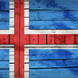 Icelandic flag painted on wooden boards — Stock Photo