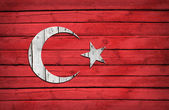 Turkish flag painted on wooden boards — Stock Photo