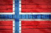 Norwegian flag painted on wooden boards — Stock Photo