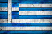 Greece flag painted on wooden boards — Photo
