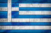 Flaga grecja malowane na drewnianych tacach — Zdjęcie stockowe
