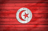 Tunisian flag painted on wooden boards — Stock Photo