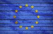 EU flag painted on wooden boards — Stock Photo