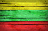 Lithuanian flag painted on wooden boards — Stock Photo