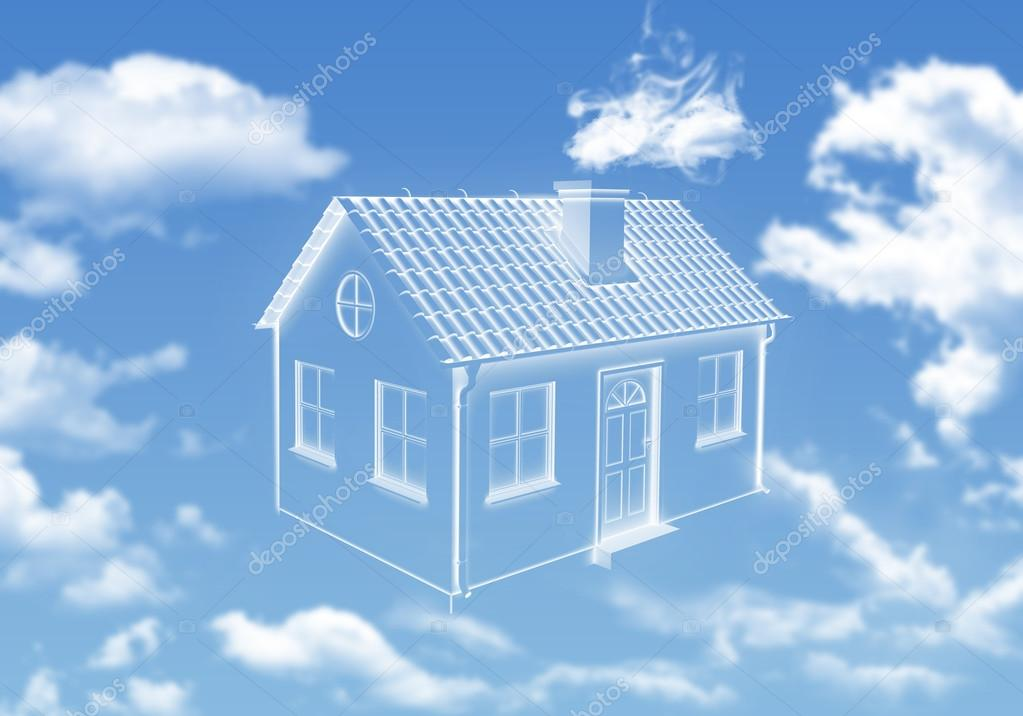 云在天空中的房子 — 图库照片08cherezoff