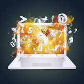 Laptop emits letters, numbers and smoke — Stock Photo