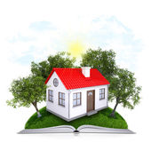 On the pages of an book is grass, trees and house — Stock Photo