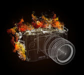 Wire frame SLR camera in the colored smoke — Stock Photo