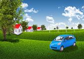 Blue sky, green grass and houses — Foto de Stock