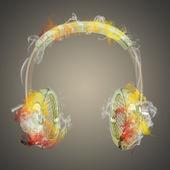 Headphones in the colored smoke — Stock Photo