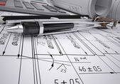 Engineering drawings — Stock Photo