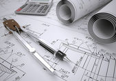 Engineering drawings — Foto de Stock