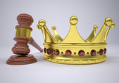 Gavel and gold crown — Stock Photo