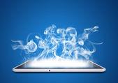 Tablet pc emits smoke — Foto Stock