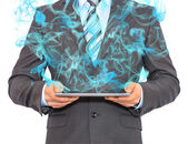 Tablet pc with smoke — Foto Stock