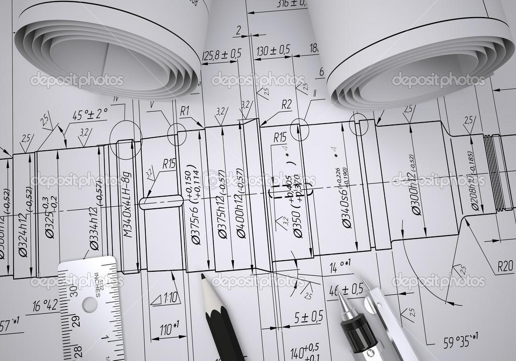 工程绘图—图库照片