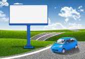 Small car and empty billboard — Stock Photo