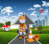 3d worker and traffic cones — Stock Photo