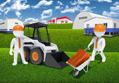 Two 3d workers with loader and wheelbarrow — Стоковое фото