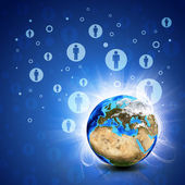 Network contacts and Earth. Hi-tech background — Stock Photo