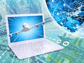 Airplane with background of laptop and Earth — Stock Photo