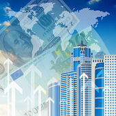 Skyscrapers with background of arrows and money — Stock Photo