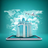 Airplane with background of skyscrapers on tablet — Stock Photo